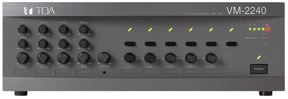 MIXER AMPLIFIER 240W KÈM BỘ CHỌN 5 VÙNG LOA TOA VM-2240, TOA VM-2240