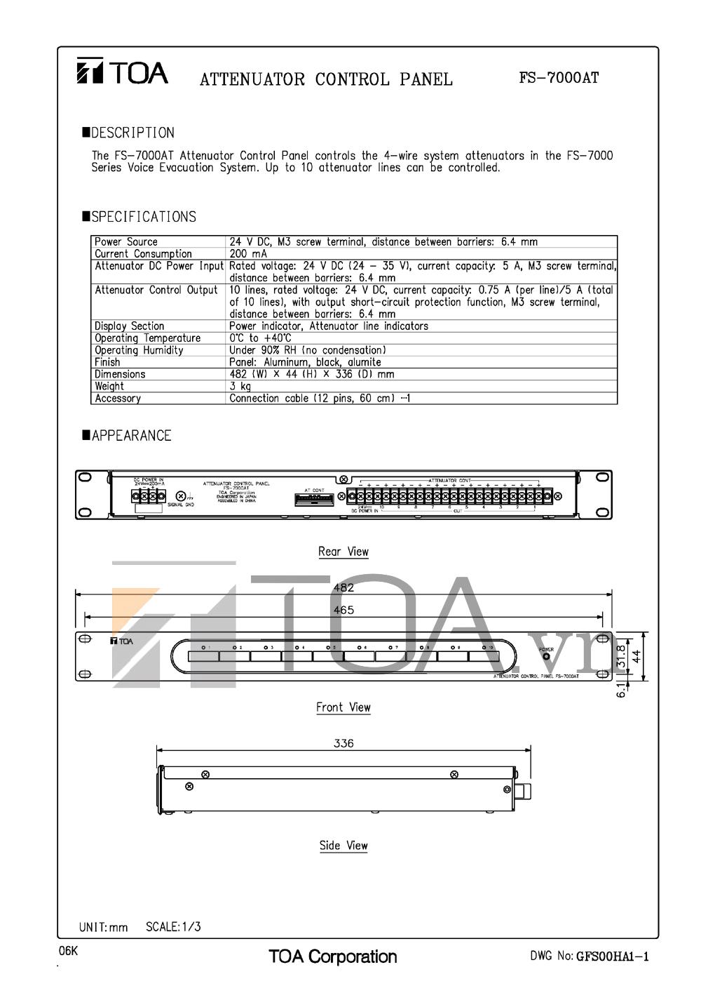 BẢNG ĐIỀU CHỈNH ÂM LƯỢNG TOA FS-7000AT, BANG DIEU CHINH TOA FS-7000AT