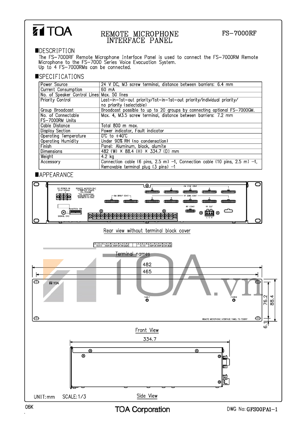 BẢNG ĐIỀU CHỈNH GIAO DIỆN CHO MICRO TOA FS-7000RF, TOA FS-7000RF