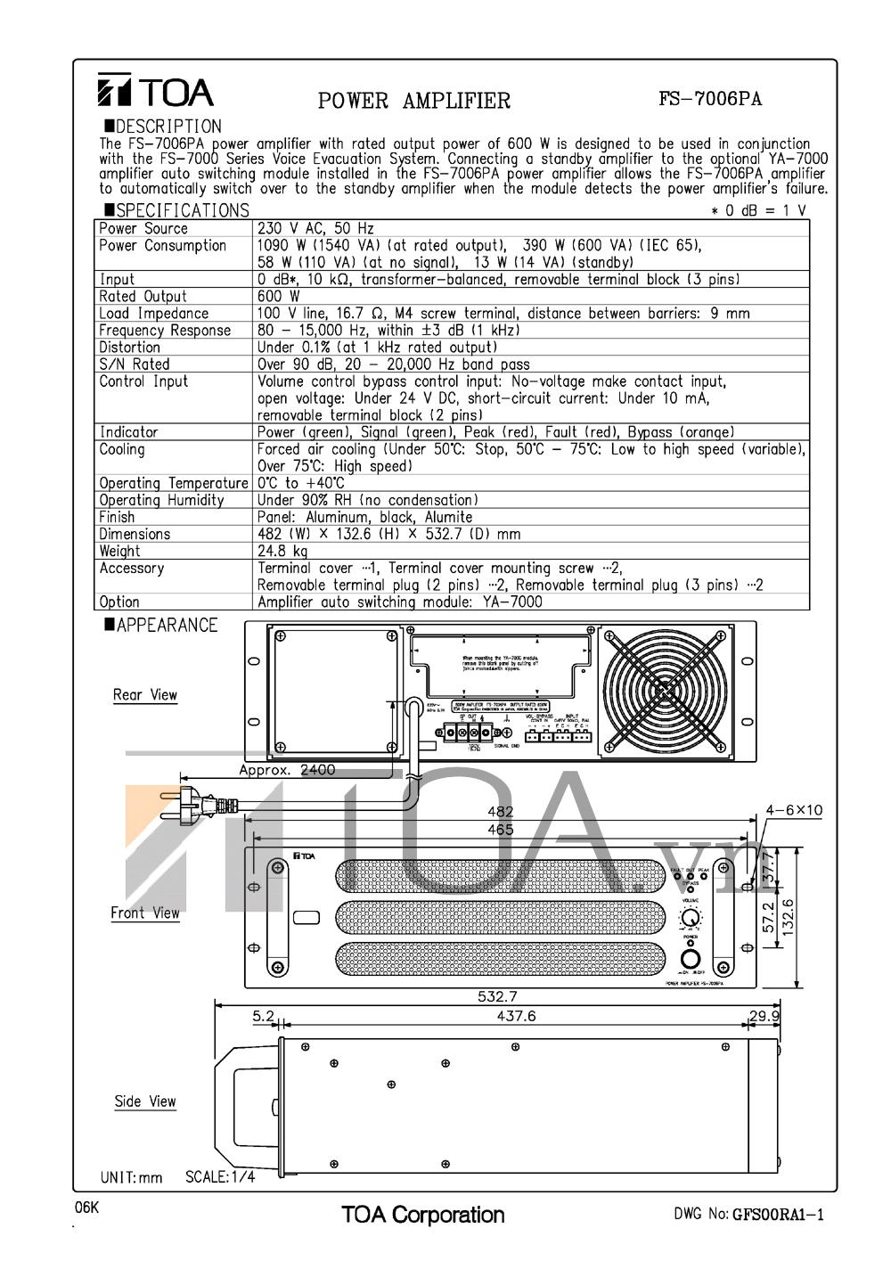 AMLY CÔNG SUẤT TOA FS-7006PA, AMPLI CONG SUAT TOA FS-7006PA, TOA FS-7006PA