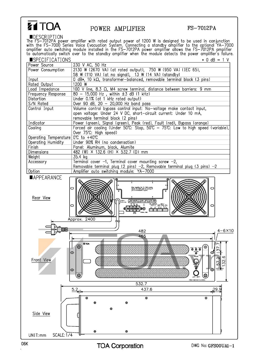 APLY CÔNG SUẤT TOA FS-7012PA, AMPLI CONG SUAT TOA FS-7012PA, TOA FS-7012PA